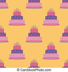 Birthday cake seamless pattern. Vector illustration.
