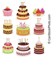 Birthday cake set isolated on white