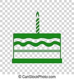 Birthday cake sign. Dark green icon on transparent background.