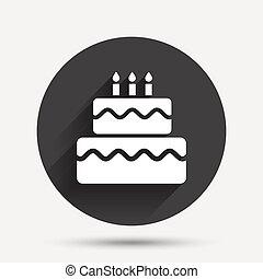 Birthday cake sign icon. Burning candles symbol