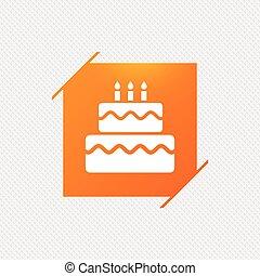 Birthday cake sign icon. Burning candles symbol.