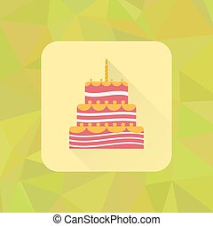 Birthday Cake Sign Icon On Polygonal Triangle Background With Burning Candles Symbol Colored