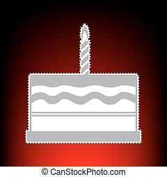 Birthday cake sign. Postage stamp or old photo style on red-black gradient background.