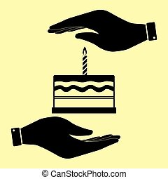 Save or protect symbol by hands. - Birthday cake sign. Save...