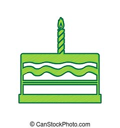 Birthday cake sign. Vector. Lemon scribble icon on white background. Isolated