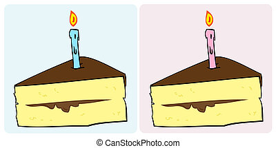 Birthday cake slice with candle.
