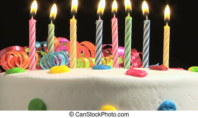 Birthday Cake - Candles on a Birthday cake burning down