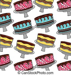 birthday cake sweet delicious food dessert pattern drawing color
