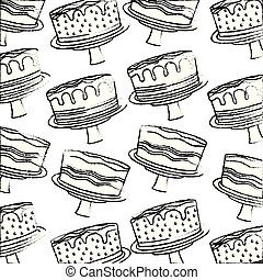 birthday cake sweet delicious food dessert pattern hand drawing