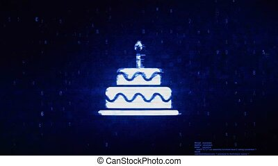 Birthday Cake Symbol Digital Pixel Noise Error Animation.