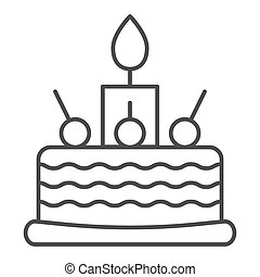 Birthday cake thin line icon. Sweet vector illustration isolated on white. Cake with cherry outline style design, designed for web and app. Eps 10.