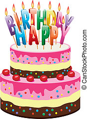 birthday cake - vector delicious cake with cherries and...