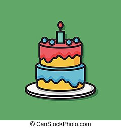 birthday cake vector icon