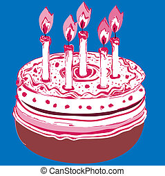 Birthday Cake. Vector illustration on a blue background.