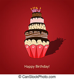 Vector picture with birthday cake