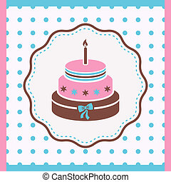 Birthday cake - Vintage card with birthday cake with one...