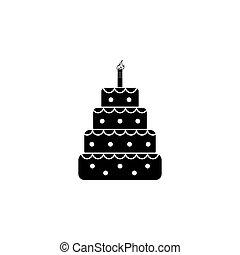 Birthday cake web icon black on white background