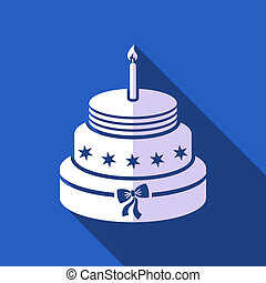 Birthday cake - White vector birthday cake with blue flat...