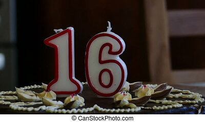Birthday cake winth candles - Sixteenth Birthday cake with...