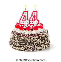 Birthday cake with burning candle number 44