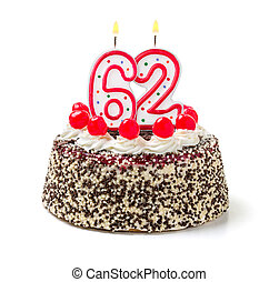 Birthday cake with burning candle number 62