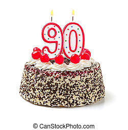 Birthday cake with burning candle number 90