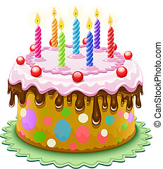 birthday cake with burning candles - birthday cake with ...
