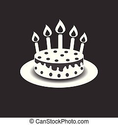 Birthday cake with burning candles pictogram icon. Simple pictogram for celebration, marketing, internet concept on black background. Trendy modern vector symbol for web site design or mobile app
