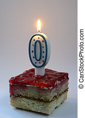 birthday cake with burning zero shaped candle