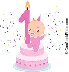 Birthday cake with candle and baby girl. Vector illustration