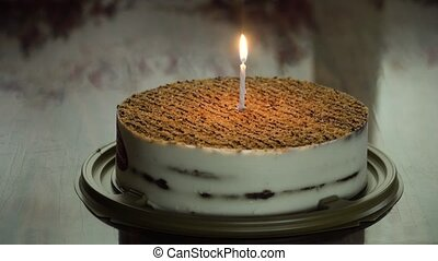 Birthday cake with candle. - Birthday cake with colorful...