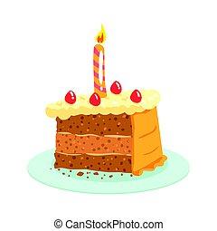 Birthday cake with candle, celebration party symbol cartoon vector Illustration