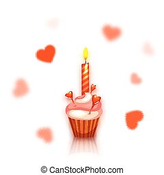 Birthday cake with candle. Hearts on background. Vector illustration