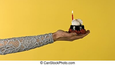 Birthday cake with candle on woman's hand. Celebrating...