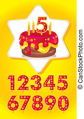birthday cake with candles and a set of numbers for your...