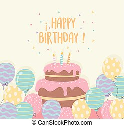 birthday cake with candles and balloons party decoration