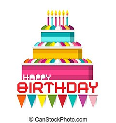 Birthday Cake with Candles and Colorful Flags. Vector Illustration.