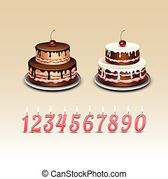Birthday Cake with Cherry and Candles with Numerals. Isolated on Background. Realistic Vector Illustration