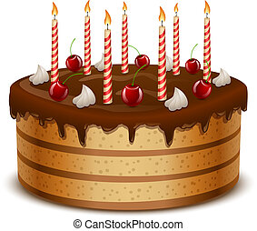 Birthday cake with candles isolated on white background...