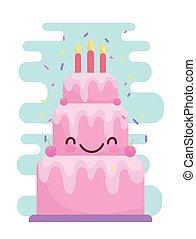 birthday cake with candles menu character cartoon food cute