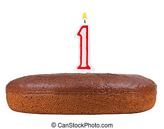 birthday cake with candles number 1 isolated