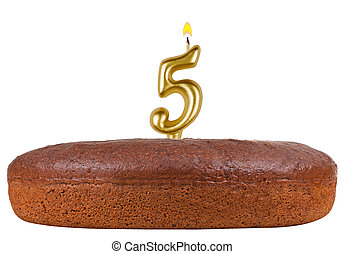 birthday cake with candles number 5 isolated