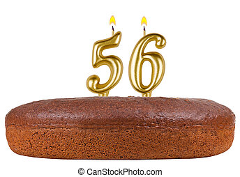 birthday cake with candles number 56 isolated
