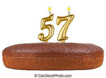 birthday cake with candles number 57 isolated