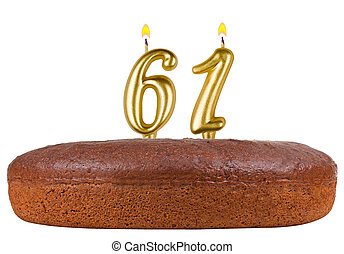 birthday cake with candles number 61 isolated