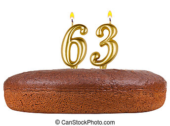 birthday cake with candles number 63 isolated