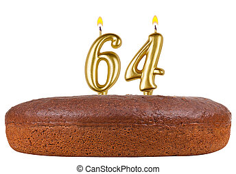 birthday cake with candles number 64 isolated
