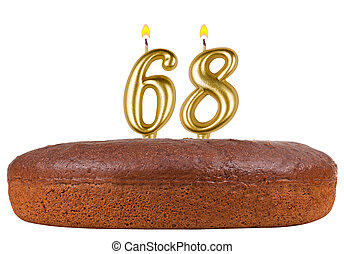 birthday cake with candles number 68 isolated