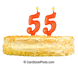 birthday cake with candles number fifty five isolated on ...