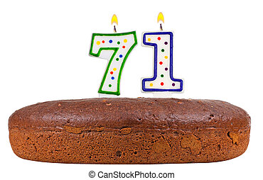 birthday cake with candles number seventy one